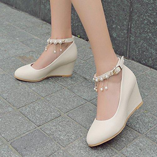 b03a513fd5bf ... Mee Shoes Damen süß bequem Keilabsatz runder toe ankle strap Schnalle  Geschlossen Metall-Dekoration Perle