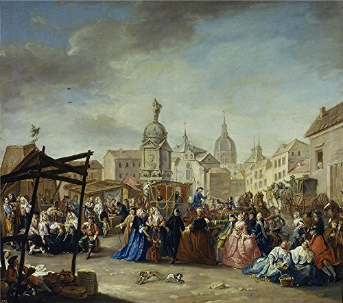 'Cruz Vazquez Manuel De La La Feria De Madrid En La Plaza De La Cebada 1770 80 ' Oil Painting, 30 X 34 Inch / 76 X 86 Cm ,printed On Polyster Canvas ,this Cheap But High Quality Art Decorative Art Decorative Prints On Canvas Is Perfectly Suitalbe For Living Room Decor And Home Decor And (Party City Bay Plaza)