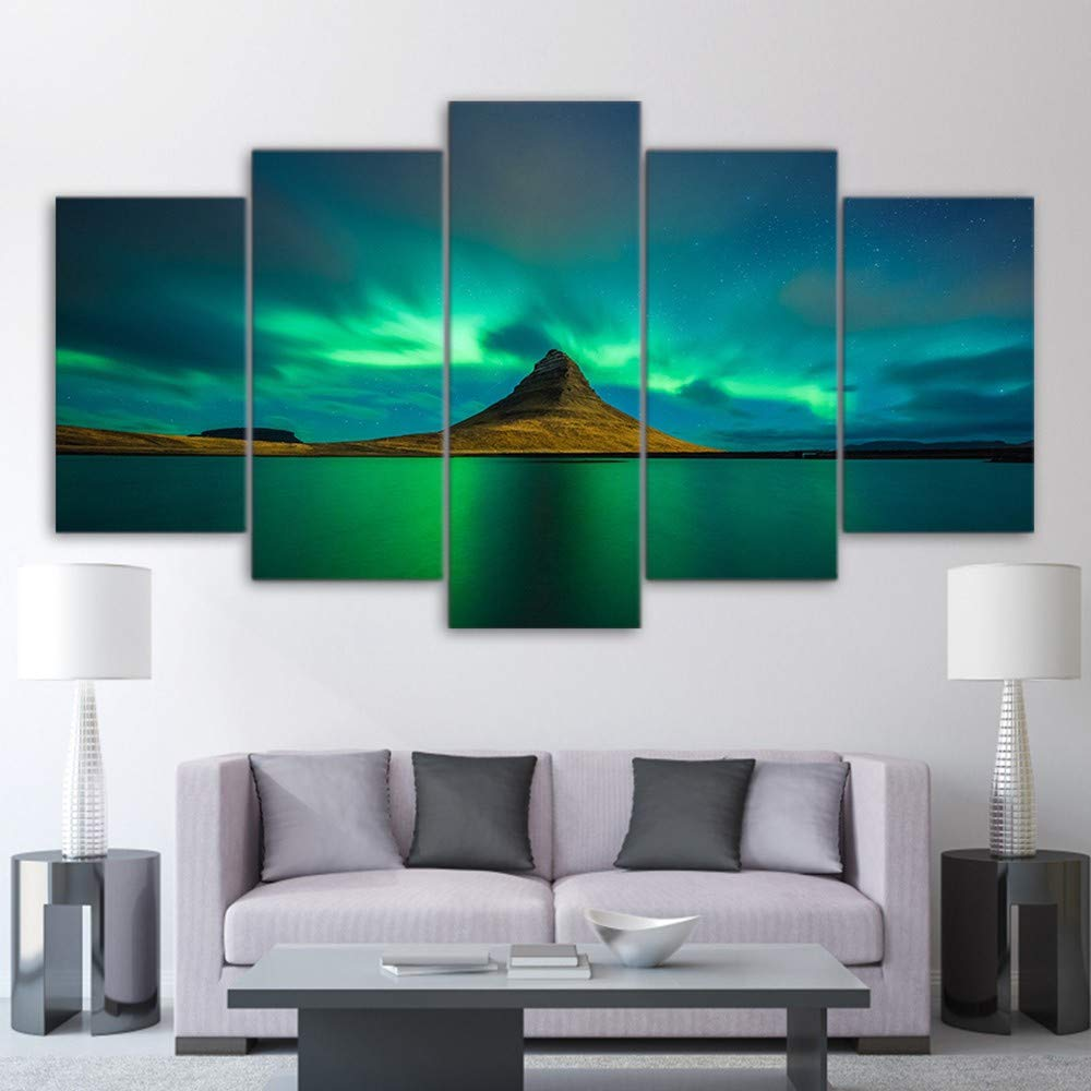 DYDONGWL Multi Panel Lienzo Arte de la Pared Imágenes Decoración 5 del hogar para la Sala de Estar 5 Decoración Piezas Islandia Aurora Pinturas Modular HD Imprime Volcano Cartel Marco, 40X60cmX2 40X80cmX2 40X100 1c6345