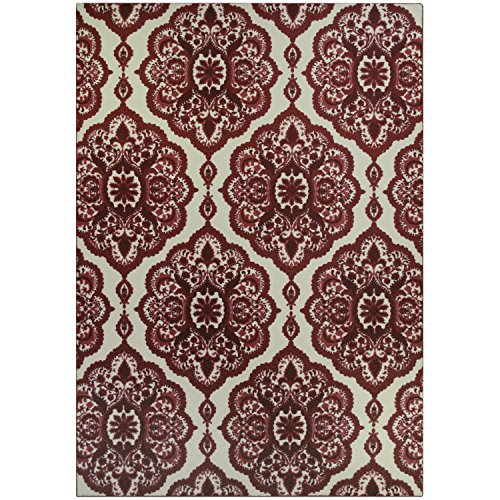 Maples Rugs Area Rugs - Vivian 7 x 10  Large Area Rugs [Made in USA] for Living Room, Bedroom, and Dining Room, Garnet Red (Room Red Rug In Living)