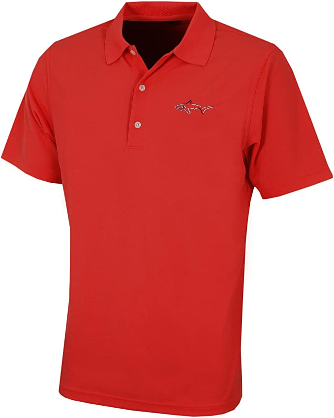 Greg Norman Mens Micro Pique Large Logo Polo Shirt