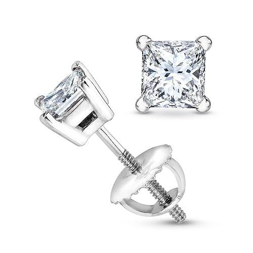 3/4 Carat Solitaire Diamond Stud Earrings Princess Cut 4 Prong Screw Back (I-J Color, SI1-SI2 Clarit...