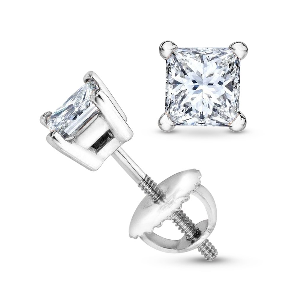 1 Carat 14K White Gold Solitaire Diamond Stud Earrings Princess Cut 4 Prong Screw Back (I-J Color, SI1-SI2 Clarity)