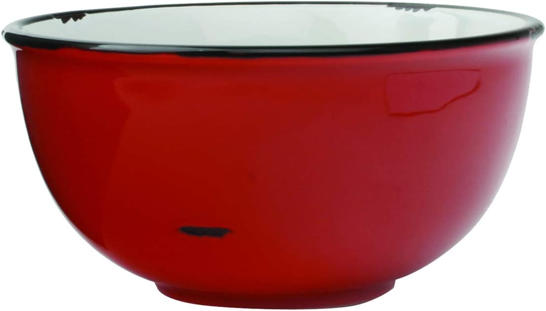 Canvas Home Tinware Bowl with Black Rim, Small, Red- Pack of 4
