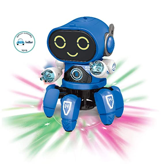 FunBlast Octopus Shape Electric Robot Colorful Music Flashing Lights Dance Toy for Kids Boys Girls (Blue)
