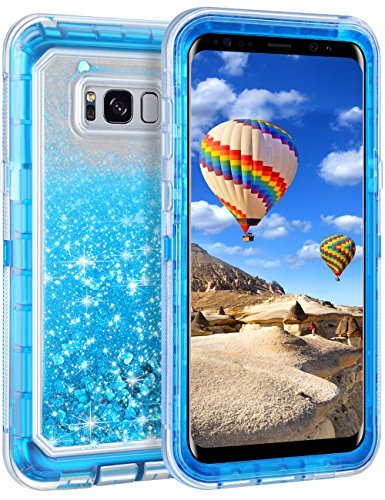 Coolden Case for Galaxy S8 Case Protective Glitter Case for Women Girls Cute Bling Sparkle 3D Quicksand Heavy Duty Hard Shell Shockproof TPU Case for Samsung Galaxy S8, Blue