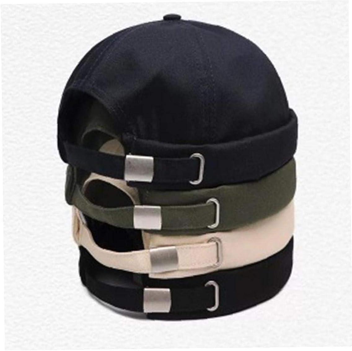 Adjustable Hats Docker Cap Skullcap Sailor Cap Rolled Cuff Retro Brimless Beani Hat for Unisex
