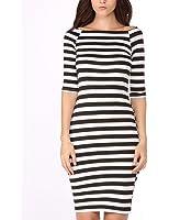 Ladies Casual Dress Half Sleeve Stretchy Bodycon Striped Pencil Dresses