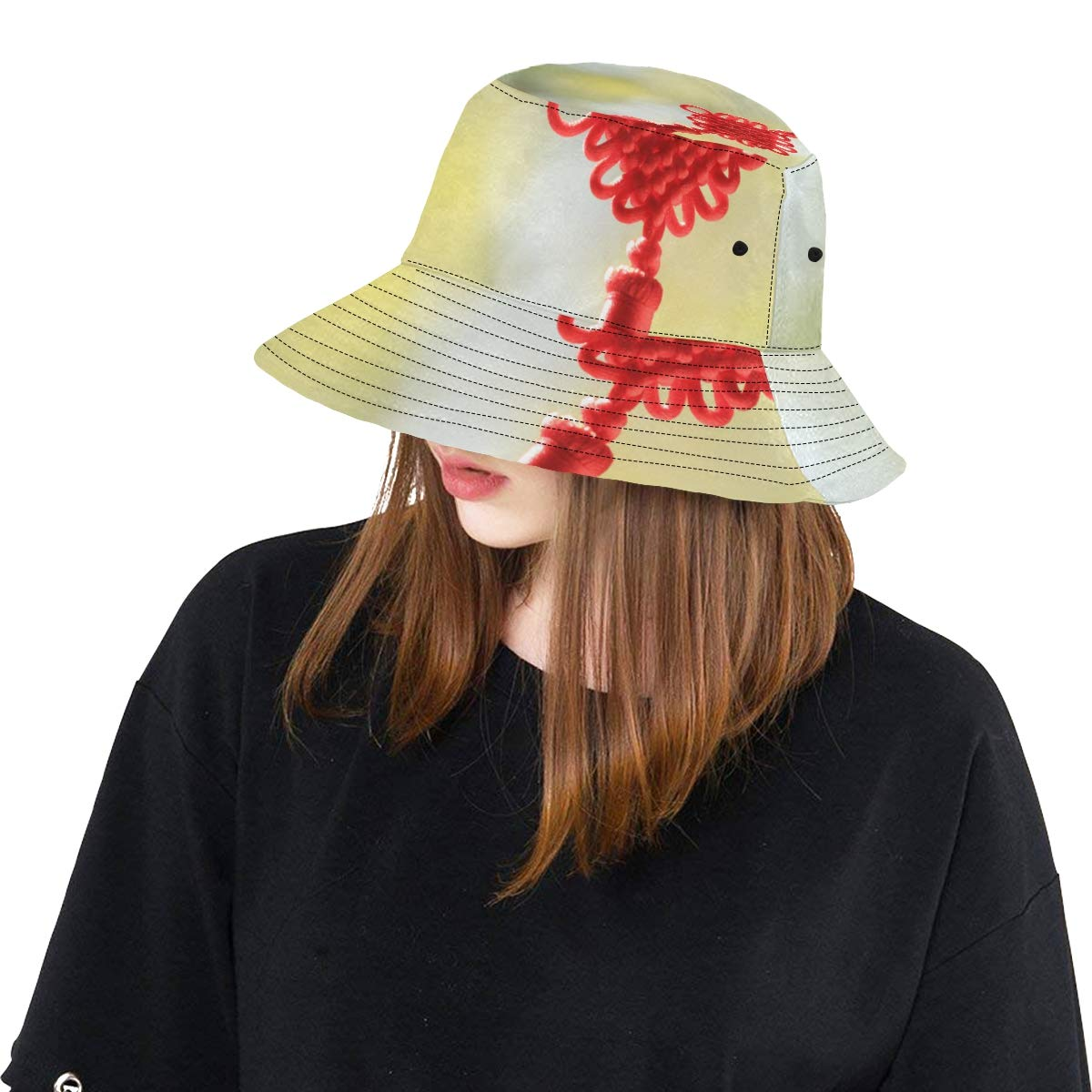 Chinese Knot Good Lucky New Summer Unisex Cotton Fashion Fishing Sun Bucket Hats for Kid Teens Women and Men with Customize Top Packable Fisherman Cap for Outdoor Travel