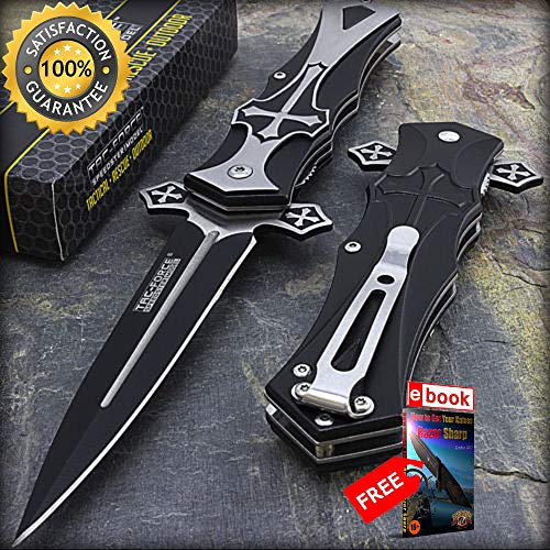9'' TAC FORCE MEDIEVAL CRUSADER CROSS DAGGER STYLE SPRING ASSISTED FOLDING KNIFE Combat Tactical Knife + eBOOK by Moon ()