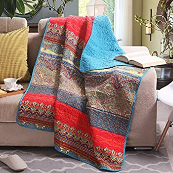 Amazon.com: Premium Reversible Quilted Throw Blankets Chevron ... : quilted throw blanket - Adamdwight.com