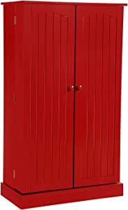 HOME BI Kitchen Pantry Cabinet 5 Door Storage Cabinet with 5 Shelves Cupboard Space Saving Cabinet,Red