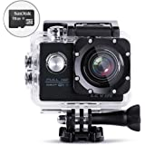 LEVIN 防水 スポーツカメラ 12MP 16GB Micro SDカード付属 デュアルバッテリー配置 ブラック