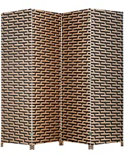 BestMassage Wood Screen Folding Screen Room Dividers 4-Panel Mesh Woven Design Privacy Room Partition Wooden Screen