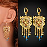 GDSTAR Tassel Earrings 18k Gold Plated Jewelry Vintage Color Snow ong Drop Earrings Accessories