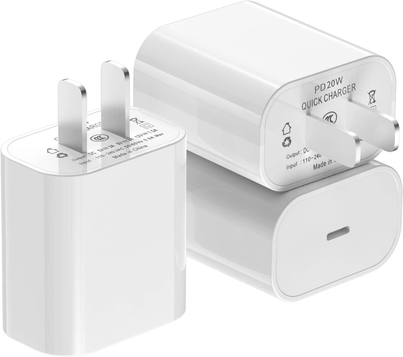 [Apple MFi Certified] iPhone Fast Charger 3Pack, iGENJUN 20W USB C Charger Wall Charger Block with PD 3.0, Compact USB C Power Adapter for iPhone 12/12 Pro/11, Galaxy, Pixel, AirPods Pro-White