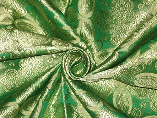 Vestment Fabrics - VESTMENT SILK BROCADE FABRIC GOLD & GREEN 44