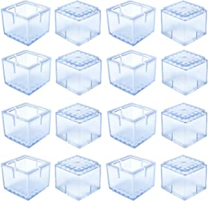 Ksmiley 16 Pack Chair Leg Floor Protectors Square Furniture Leg Caps Silicone Table Feet Covers, Non-Slip Wood Floor Hardwood Protector, Fit 1-1/4 to 1-3/8 (30-35mm), Transparent