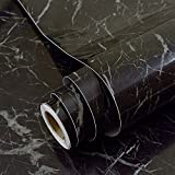 Faux Black Marble Contact Paper Adhesive Backing Vinyl Film Peel and Stick Marble Shelf Liner for Kitchen Countertop Cabinets Backsplash Crafts Projects (24 by 117 Inches)