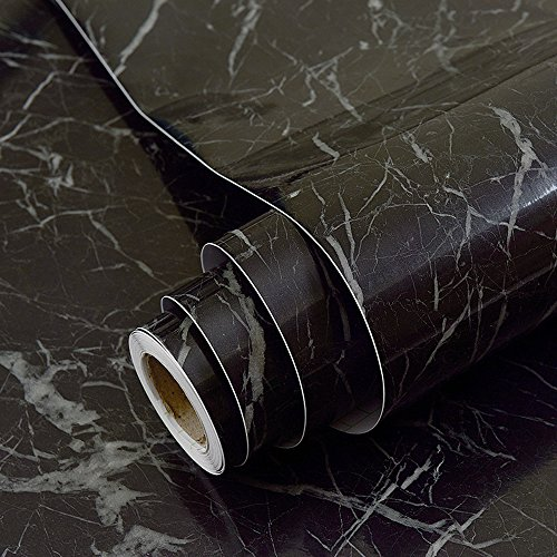 Faux Black Marble Contact Paper Adhesive Backing Vinyl