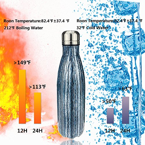 500ml Water Drinking Bottle Double Wall Vacuum Cool Insulated Stainless Steel Water Bottle 17oz