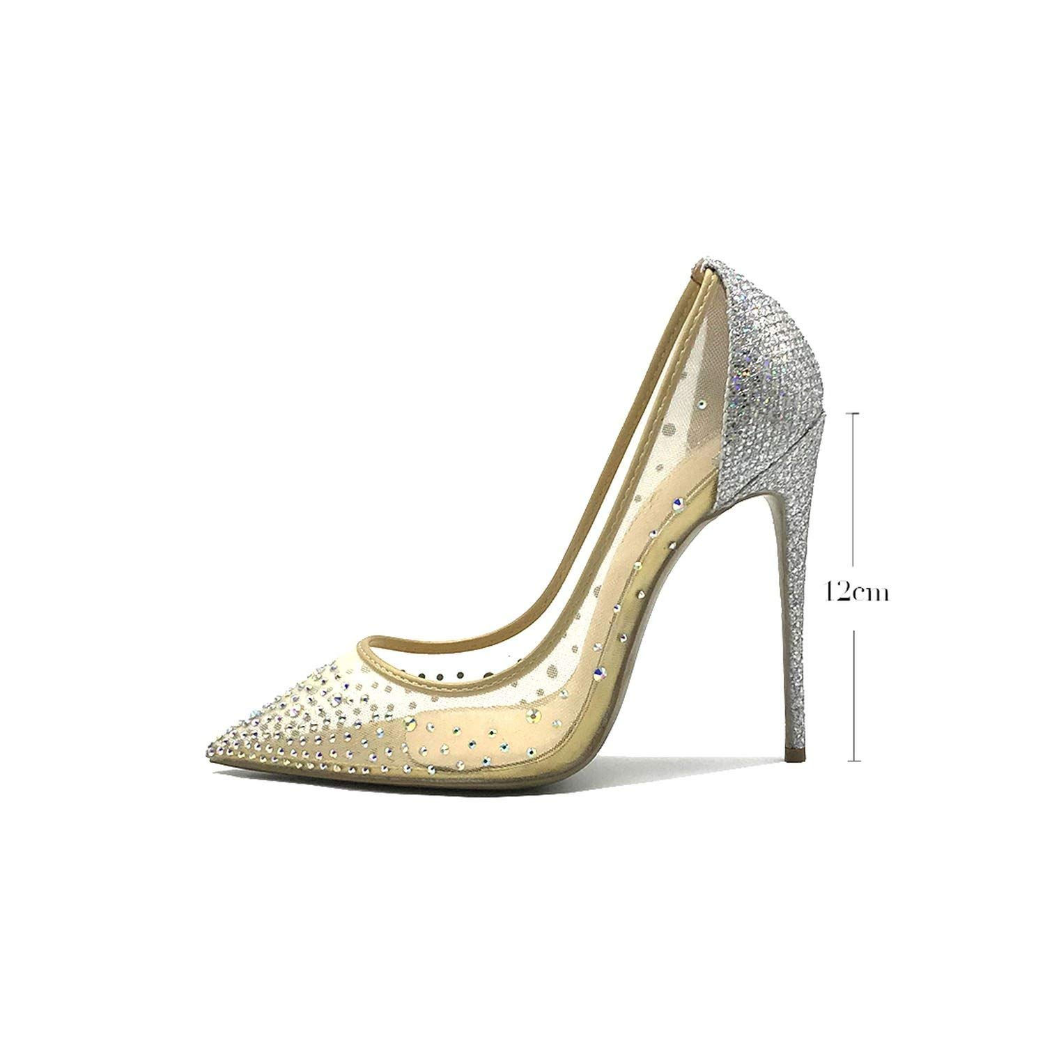 Silver 12cm pleasantlyday Sexy shoes Woman Pointed Toe Heels Crystal Bling Silver High Heels shoes