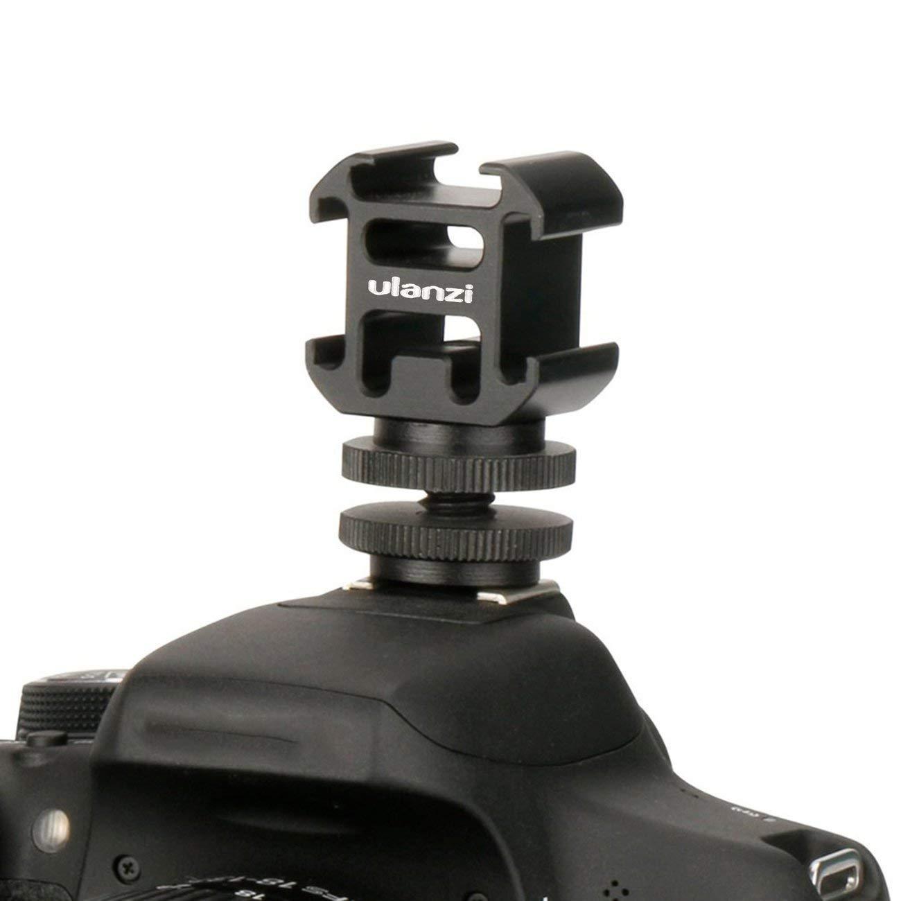 LasVogos Adaptador de Zapata de la c/ámara Caliente Ulanzi Monte Monte con by-MM1 micr/ófono Mini LED Luz de v/ídeo para la c/ámara r/éflex Digital para Canon para Nikon Negro