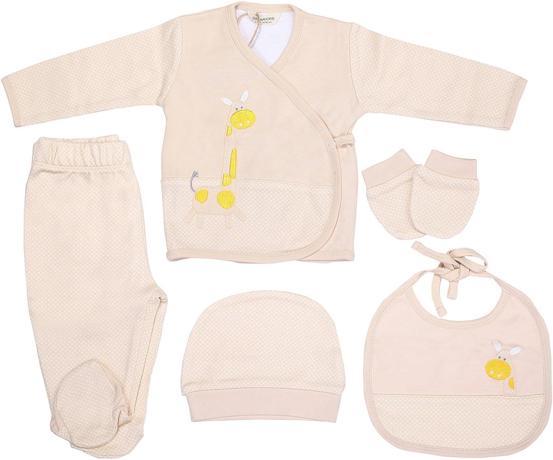 Newborn Baby Layettes Set%100 Organic Layette Set 5 pcs - Baby Gift Set (Multicolored)