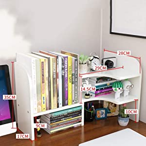 Expandable Desktop Bookshelf,Adjustable Free Style Multipurpose Desk Storage Organizer for Desk Vanity Tabletop-White 58x17x35cm(23x7x14inch)