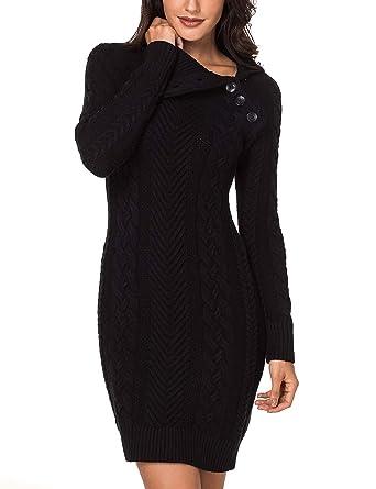 Lookbook Store Women s Black Asymmetric Button Collar Cable Knit Bodycon Sweater  Dress S f6f1451e1