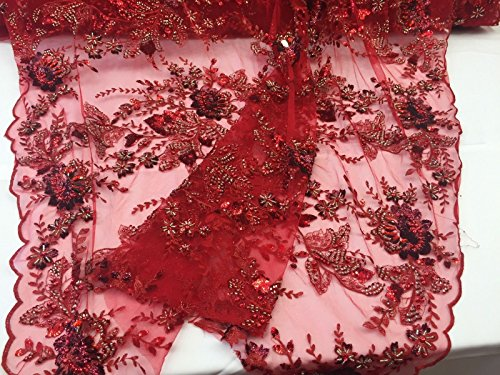 Red Regal Flower Design Embroider And Heavy Beading On A Mesh Lace -yd ()