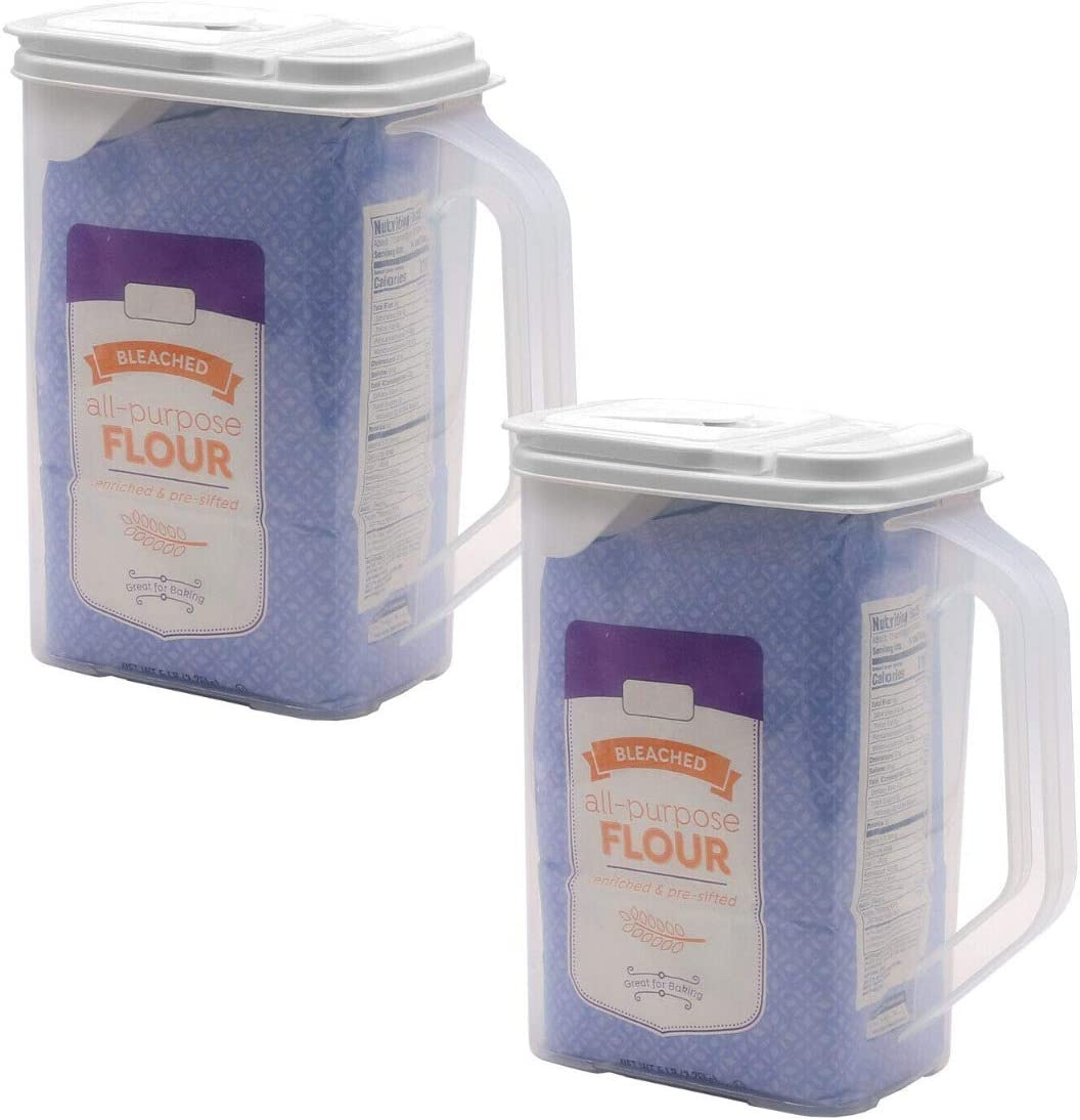 2 Pack Food Storage Container 4 Quart Flour Sugar Bag In Keeper and Dispenser with Handle