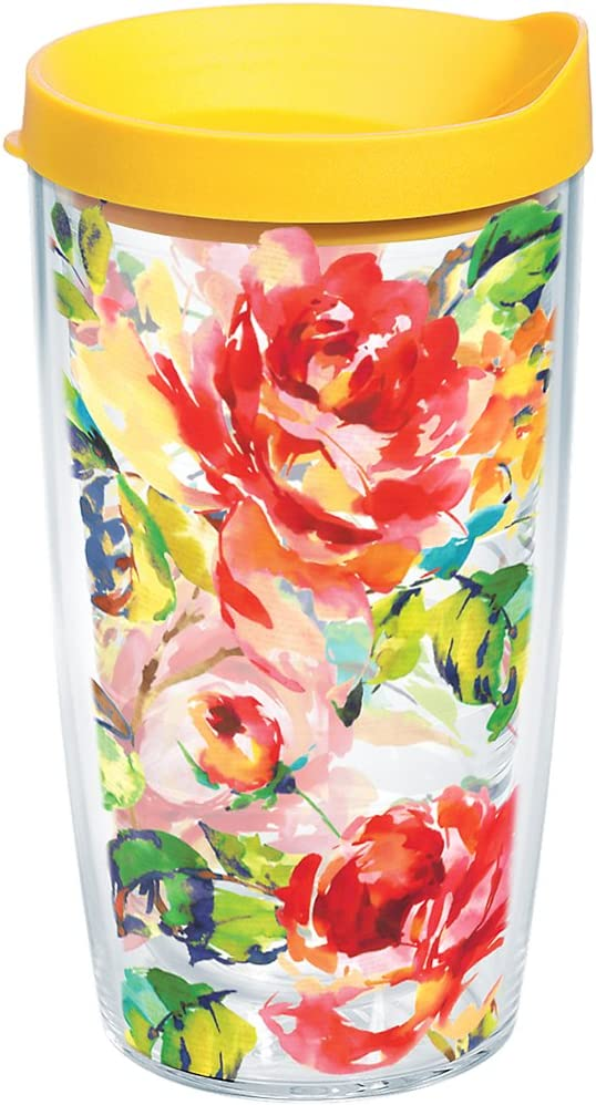 Tervis Fiesta - Floral Bouquet Tumbler with Wrap and Yellow Lid 16oz, Clear