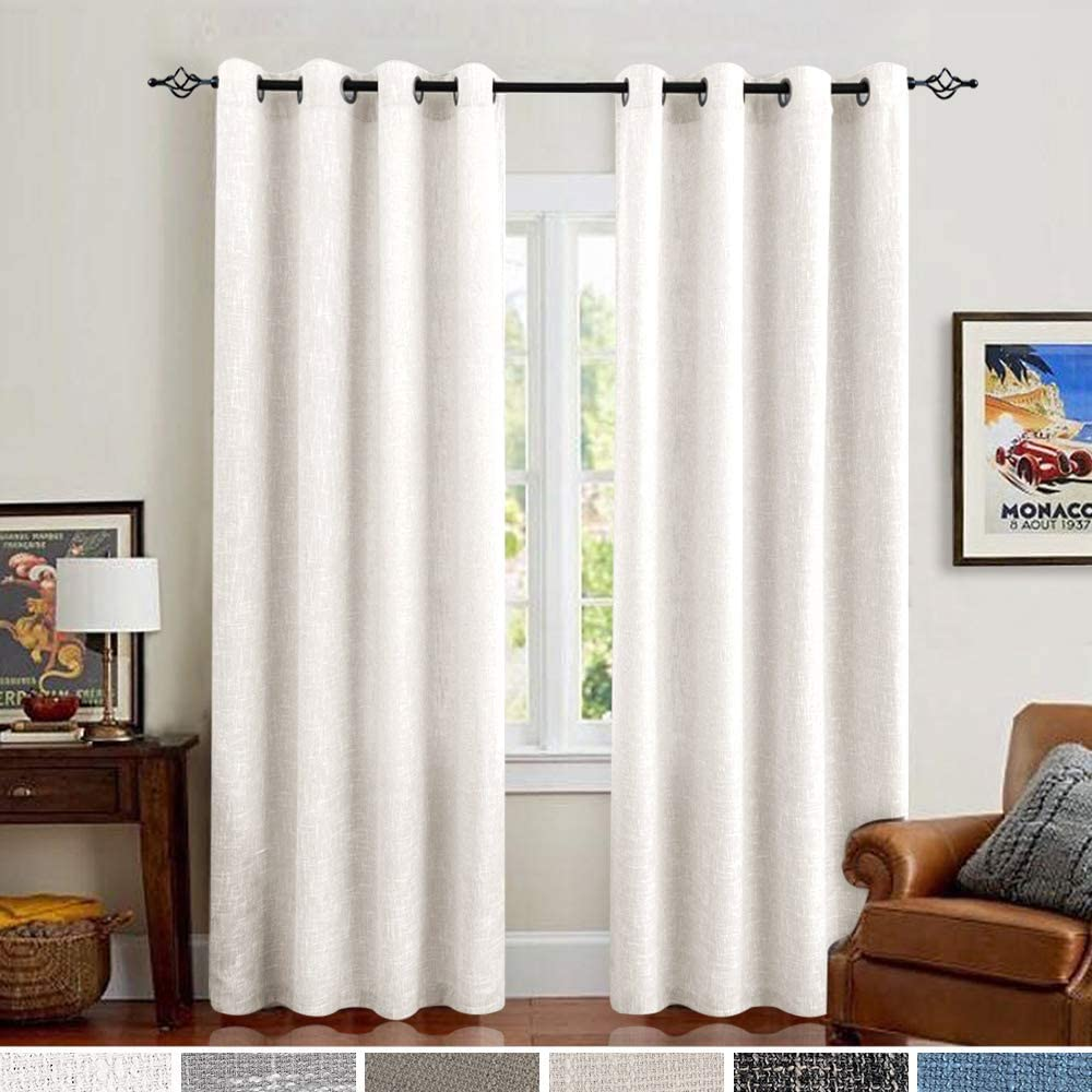 Off White Linen Curtains 63 Inches Burlap Window Curtains for Bedroom Drapes Double Width 52 Width x 63 Length Off White
