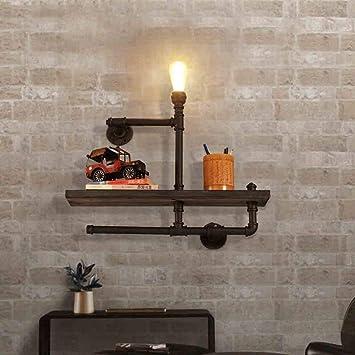 WHKHY Wall Lamp Hallway Bookshelf Cafe Restaurant Irons Aisle Industrial Water Tube Wood