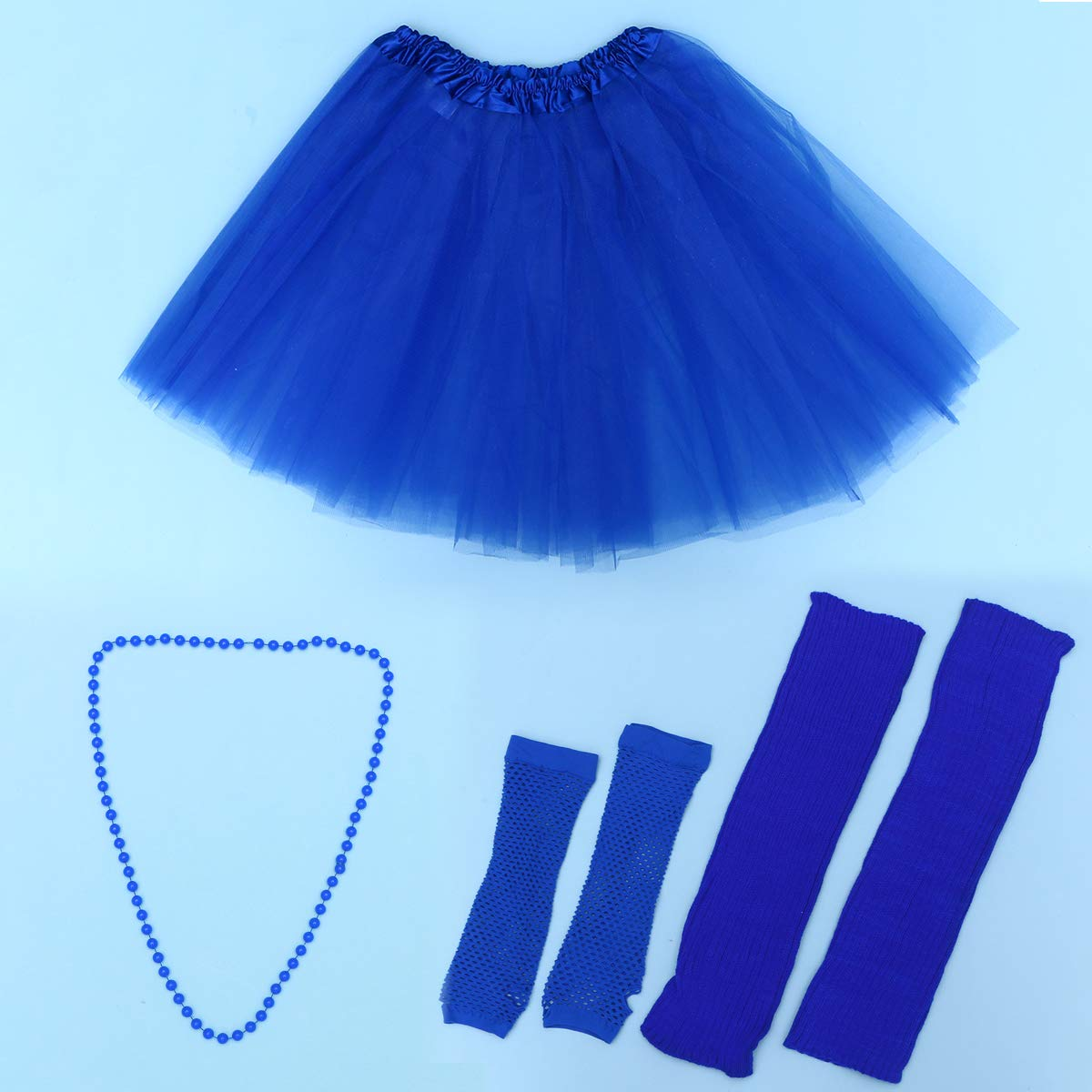 Toyvian Disfraz de Tul de los a/ños 80 Conjuntos de Faldas para Mujeres 80s Falda de tut/ú sin Dedos Mallas de Guantes Collares Mangas de Pierna para Accesorios de Fiesta de los a/ños 80 Azul