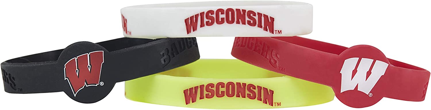 aminco NCAA Wisconsin Badgers Silicone Bracelets 4-Pack