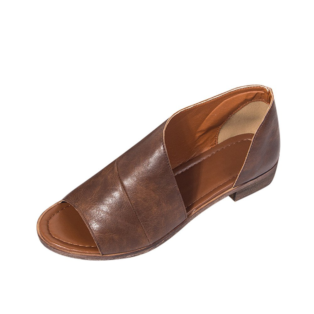 2019 Women Fashion Summer Outdoor Shoes Solid Color Pointed Toe Low Heel Flat Bottom Rome Comfort Shoes Sandals (Brown, US:5.5)