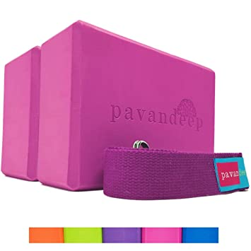 Pavandeep Yoga Blocks (1 Block or 3pc Yoga Block and Strap Set) High  Density EVA Foam Blocks + Yoga Strap, Balance Stretching Stability & Support