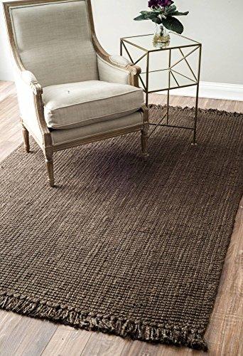 10 Rectangle Rug Flooring - nuLOOM Chocolate Hand Woven Chunky Loop Jute Area Rug, 7' 6