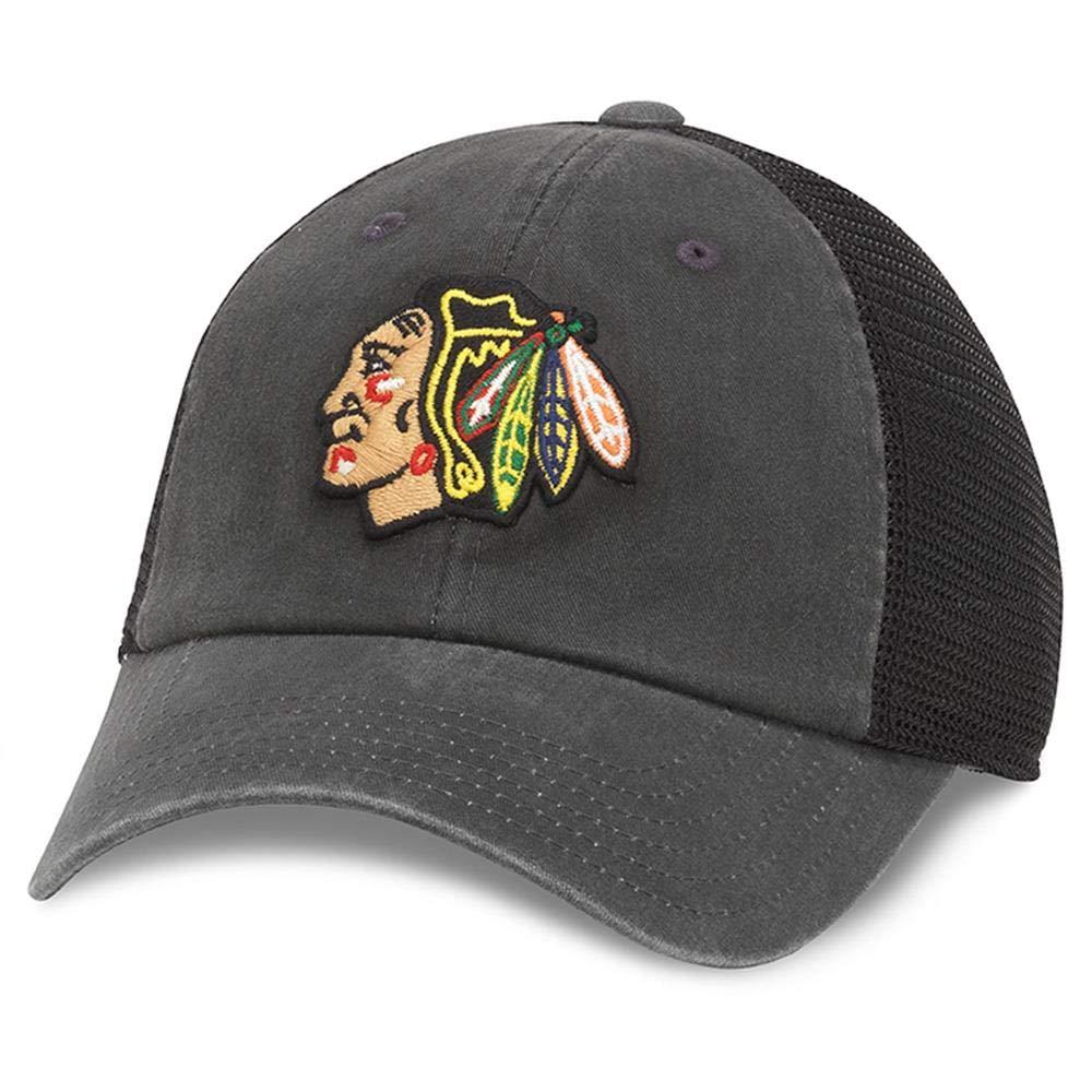 American Needle Raglan Bones NHL Mesh Strapback Hat Chicago Blackhawks Black 41152A-CBH