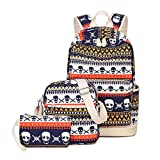 Artone Tribal Stripes Skulls Campus Backpack With Crossbody Bag And Pencil Case