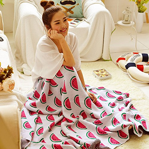Hacookies,Summer Cartoon Red Watermelon Baby Crocheted Knitted Cashmere Fleece Toddlers Swaddling Receiving Blankets Bedding Wrap