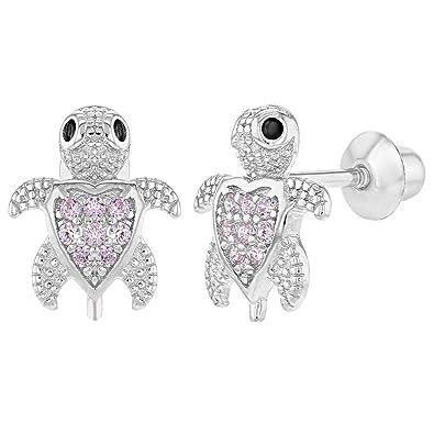 0318161f1ada In Season Jewelry - 925 Plata de Ley Circonita Rosa Pequeña Tortuga Aretes  con Cierre de Rosca para Niñas  Amazon.es  Joyería