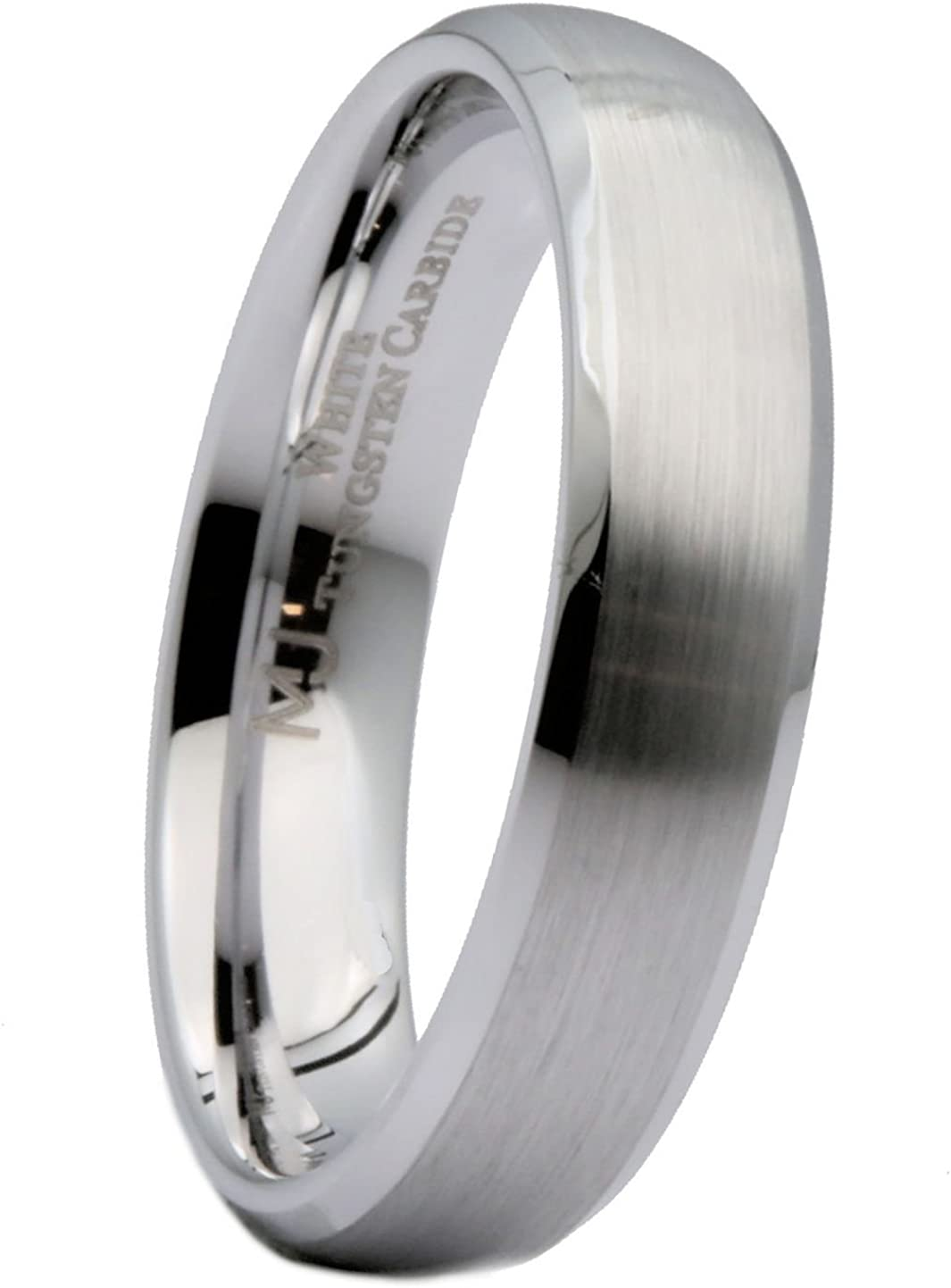 MJ Metals Jewelry Brushed Polished Edges Titanium 5mm-8mm Wedding Band Comfort Fit Band