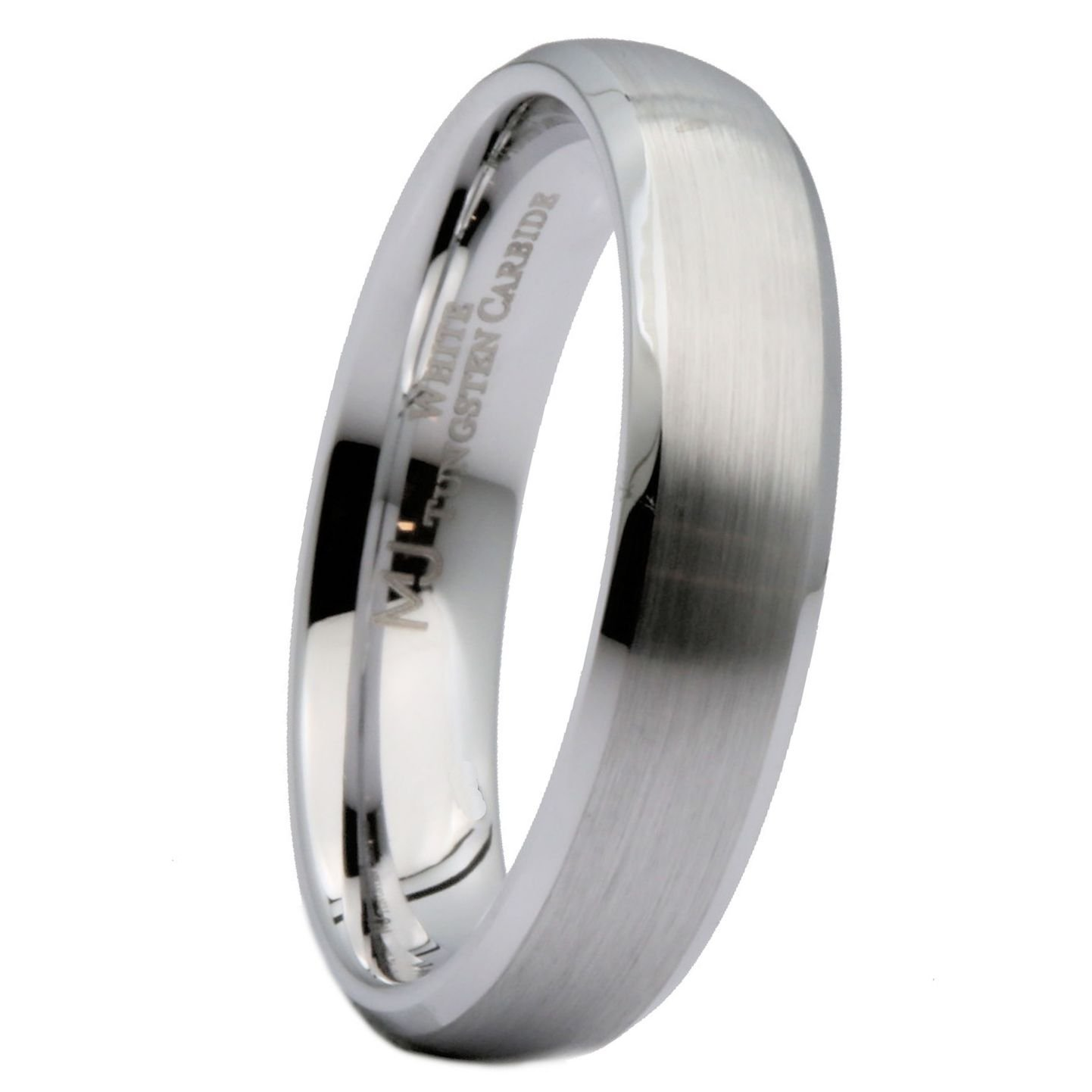 MJ Metals Jewelry Custom Engraving 5mm White Tungsten Carbide Brushed Polished Edge Ring Size 8