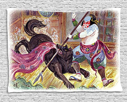 Japanese Collection Brave Samurai with His Lance Fighting against Black Demon Wolf Wild Battle Theme Black Yellow Supersoft Throw Fleece Blanket 49.21x78.74 Inches
