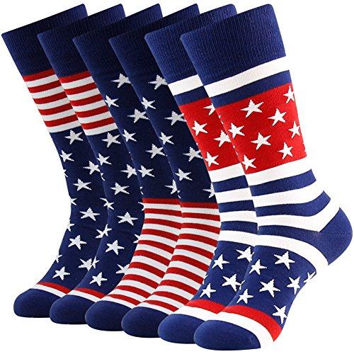 Business Gift Socks, LANDUNCIAGA Winter Christmas Gifts for Family Men Crew Classic Patriotic American Flag Socks Stars Stripe Design Funny Novelty Bridegroom Groomsmen Dress Socks Mid Calf,6 Pairs