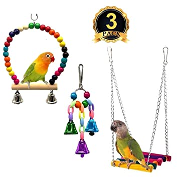Bird Toys Bird Supplies Small Birds Pet Toys Accessories Wooden Budgie Cockatiel Cage Hamster Hammock Climbing Ladder Swing Toys Parrot Apr