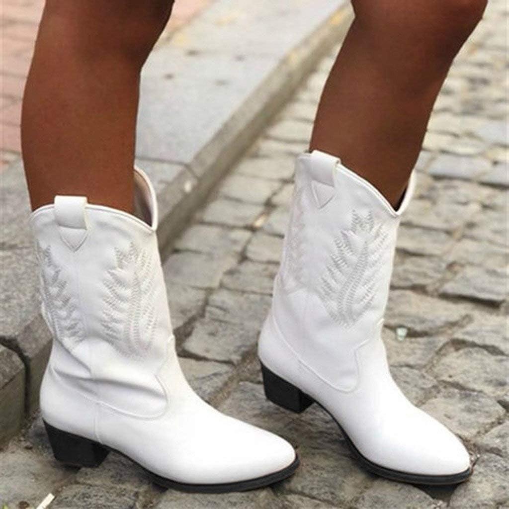 Veodhekai Women Low Heel Boots Flats Round Toe Low-Heeled Casual Shoe Western Cowboy Knight Boots Roman Shoes Cute OL